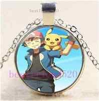 Pokemon Pikachu  Photo Cabochon Glass Dome Silver Chain Pendant Necklace#E72