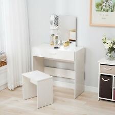 Vanity White Dressing Table Makeup Desk & Stool Set with Mirror and Drawer
