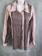 Koos of Course! Blouse Size Large Pink & Black Print Silk& Sheer Lace Stripe
