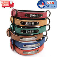 Soft Leather Personalized Dog Collar Engrave ID Name Custom for Small Large Dogs