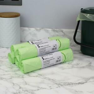 5 Litre x 250 Compostable Tie Handle Caddy Liners-Food Waste Bin Bags-EN13232