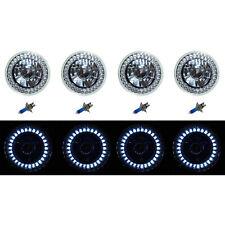 5-3/4 Halogen White LED Ring Halo Angel Eyes Headlight Headlamp Light Bulbs Set