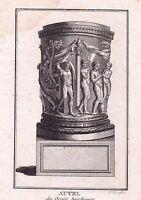 Gravure XVIIIe Orgies Bachiques Autel Bacchus Dyonisos Bacchantes Grèce Greece