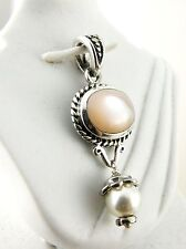 Sterling Silver Pendant Pink Opal with a Small Pearl Drop