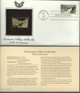 Tennessee Valley Authority-50th Anniversary-1st day issue-Golden Replica