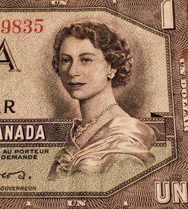 1954 Canada $1. DEVIL FACE & RARE 4 DIGIT RADAR Banknote.