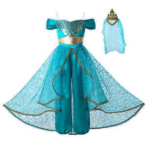 Kids Girls Aladdin Costume Jasmine Princess Fancy Dress Up Party Cosplay Outfits