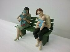 Preiser #1 Gauge Painted Seated Figures with 2 babies on the BENCH