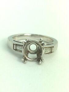 JEFF COOPER Platinum Diamond Wedding Ring Semi Mount 8.88g