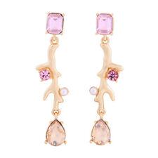 Ohrringe Kerzenhalter Bügel Koralle rosa gelb Perle Art Deco AA25