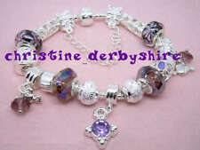"LILAC SILVER PLATE SNAKE BRACELET + BEADS & CHARMS SIZE 22cm 8.5"" NEW LOW PRICE"