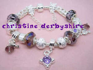 """LILAC SILVER PLATE SNAKE BRACELET + BEADS & CHARMS SIZE 22cm 8.5"""" NEW LOW PRICE"""