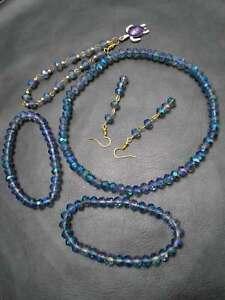 8MM Blue Light Glass Crystal Beads Anklet Bracelet Earrings Necklace Jewelry Set
