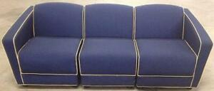 VINTAGE JACK CARTWRIGHT MODULAR 3 SECTIONAL FABRIC SOFA BLUE & MAROON FREE SHIP