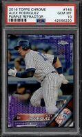 2016 Topps Chrome Alex Rodriguez #146 Purple Refractor /275 PSA 10 POP 4 Yankees