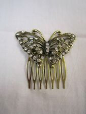 Women Butterfly Crystal Rhinestone Pearl Hair head Pin comb jewelry wedding
