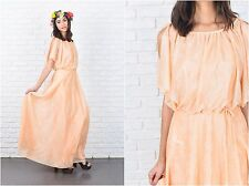 Vintage 70s Peach Maxi Dress Floral Print Slouchy Draped Small S boho