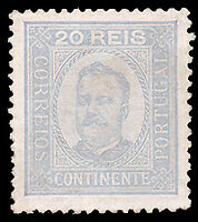 Portugal #70 MLH CV$35.00 XF (Perf 12 1/2 Enamel Surfaced Paper) King Carlos