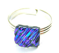 Dichroic Glass Ring Adjustable Emerald Green Teal Ripple Wavy Texture Tiny 8mm