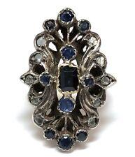 Vintage Silver, Gold-Plate, Sapphire & Diamond Edwardian Era Reproduction Ring