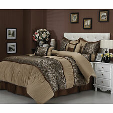 Cal King Size Beige Animal Print 7 Piece Bedding Comforter Set