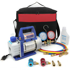 Hvac Ac Repair Complete Tool Kit With 3cfm 14hp Vacuum Pumpmanifold Gauge Sets