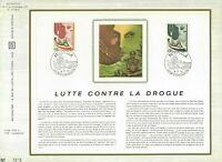 FEUILLET CEF 1er JOUR MONACO LUTE CONTRE LA DROGUE Nos 12 SUR SOIE 1972