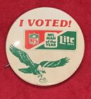 Vintage Early 1980's Philadelphia Eagles Miller Lite NFL Man of Year Pin Button