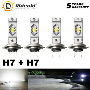 4PCS H7 + H7 LED Headlight Combo Bulbs Kits High Low Beam 200W 6000K Super White