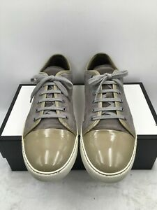 Lanvin Mens Cap Toe Green Suede Leather Sneaker Shoes Lace up Low Top Size 12 US