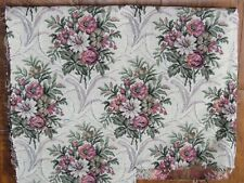 "Pink brocade floral upholstery material 21"" x 27"" wide - vintage remnant"
