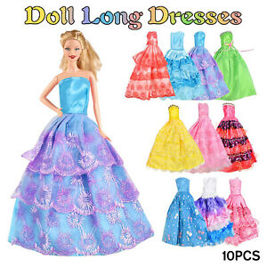 10Pcs Barbie Doll Dresses Clothes Set Wedding Gown Prom Party For 11.5 inch Doll