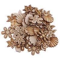 100x Unfinished Wood Flower Shell Shape Wooden Piece Scrapbook Embellishment