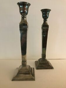 """Pottery Barn Candle Holders Silver Plated Pillar & Taper 14.5"""" Tall (Set of 2)"""