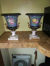 Pair of Antique Old Paris Porcelain Floral Hand Painted Urns
