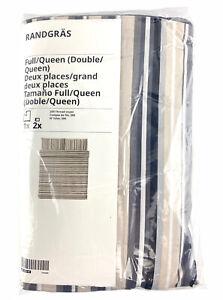 Ikea RANDGRAS Full/Queen Duvet cover and 2 pillowcases gray stripe 504.389.56