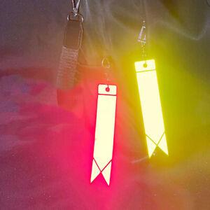 High Visibility Reflective Ribbon Pendant Keychain Bag Hanging Safety Warning