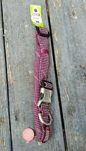 """Kong Reflective X-LARGE Dog Padded Rope Collar Fuchsia/Grey Neck Size 19"""" - 26"""""""