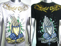Urban Saints Eternity All Stars Pray Skull Bones Vintage Tattoo Art Mens T-SHIRT