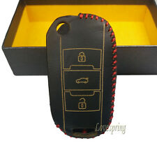 Leather Flip Car Key Case Cover For Peugeot 3008 308 RCZ 508 408 2008 407 307