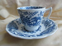 Ridgway Victorian WINDSOR Rare Blue Cup & Saucer Vintage Staffordshire Pottery