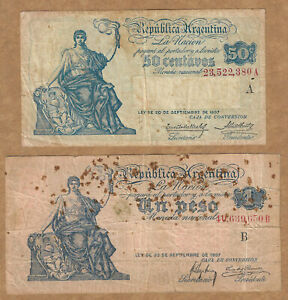 """Argentina L. 1897 Issues 50 Centavos """"A 23,522,380"""" and 1 Peso """"B 40,639,650"""""""