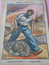 Espagne 1936 Loyalisme Légalité dessin Print 1936