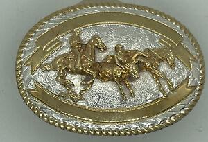 VINTAGE Crumrine Belt Buckle Bulldogging Horse Rider Roper Rodeo Western Cowboy