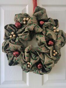 Beautiful Handcrafted Rustic Burlap Christmas Door Wreath
