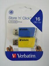 Verbatim #70376 2 pack 16 GB Store 'n' Click USB 2.0 Retractable Flash Drive