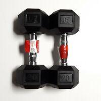 Dumbbell 20lbs Set (40lbs total)Weider DRH20 Hexagonal Rubber Weights