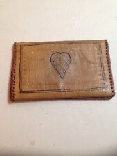 Vintage Hand Tooled Leather Wallet Artisan Leatherwork Heart Pattern Bohemian