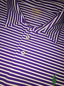 Ralph Lauren LARGE PURPLE WHITE Golf Performance Polo short sleeve Shirt