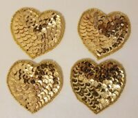 "Lot of 4 Vintage 2"" Small Gold Heart Beaded Sequined Appliques Sew On Crafts"